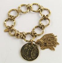 "8.75"" BELLEZZA BRONZ ITALY COIN & TASSEL BRACELET HSN Jewelry - $10.00"