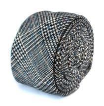 Frederick Thomas mens wool tweed tie in black check w/subtle blue FT2095
