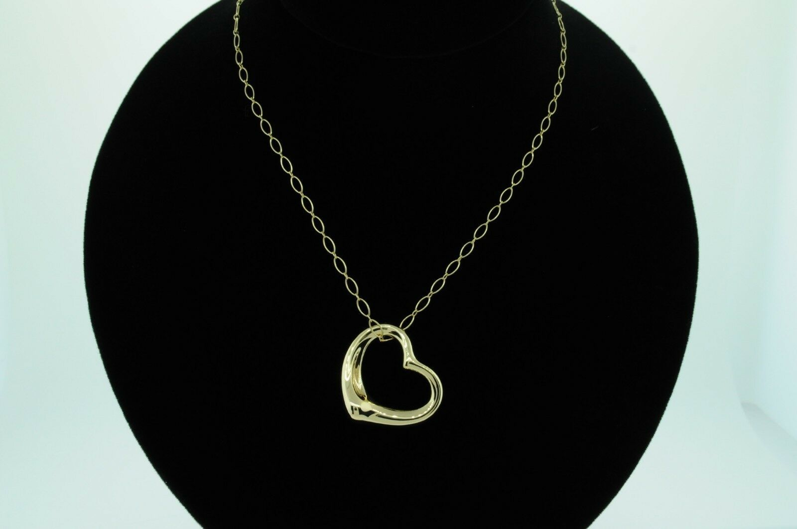 """TIFFANY & CO. 18K Yellow Gold Large Open Heart Pendant w/ 20"""" Oval Link Chain"""