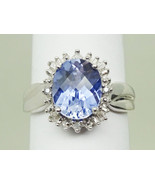 Oval Synthetic Tanzanite & Earth Mined Diamond Ring 10k White Gold Size ... - $439.00