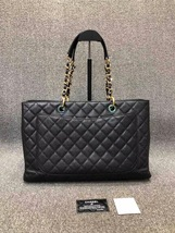 AUTHENTIC CHANEL BLACK QUILTED CAVIAR XL GST GRAND SHOPPING TOTE BAG GHW  image 2