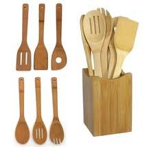 6PCs Bamboo Spoon Spatula Wooden Kitchen Cooking Utensil Set Cooking Too... - £11.46 GBP