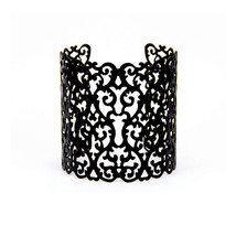 Sedmart Black Color Geometric Cuff Bangle Hollow Alloy Charm Bracelet St... - $8.34