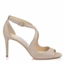Jimmy Choo Emily 85 Sand Shimmer Suede Sandals Pump Heel Shoe 37.5 - $299.91