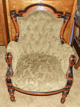 Herter Carved Walnut Parlor Chair Armchair  (AC89) - $1,995.00
