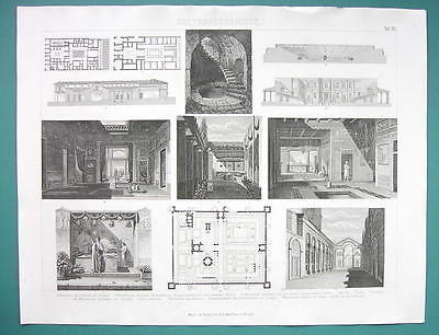 Primary image for ARCHITECTURE Roman Houses Interiors Plans - 1870s Superb Print