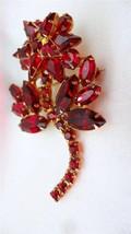 Vintage Art Glass Weiss Ruby Rhinestone Prong Set Flower Brooch Pin - $99.00