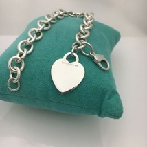 "8.5"" Tiffany & Co Sterling Silver Blank Heart Tag Bracelet - $215.00"
