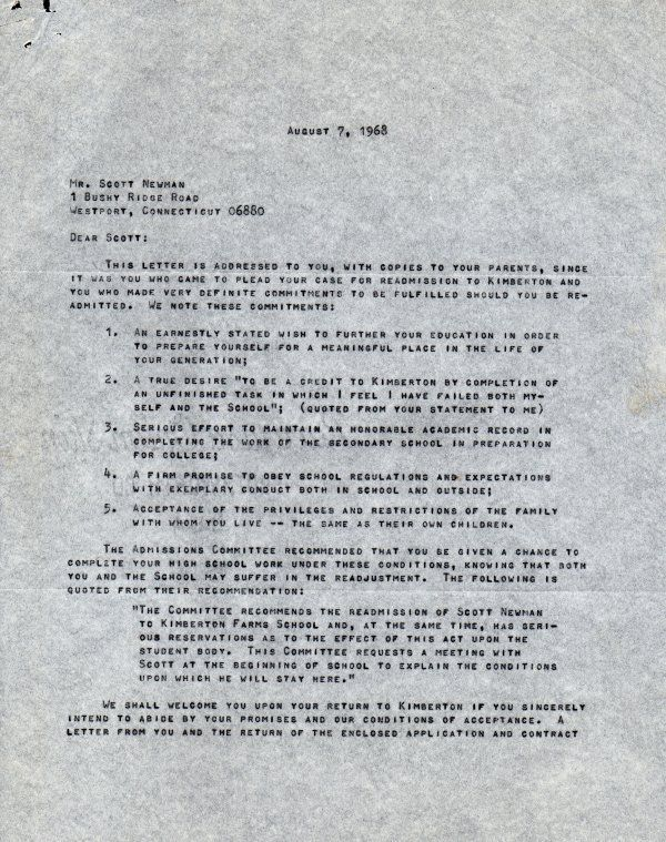 PAUL NEWMAN Signed letter, Very interesting topic (about his son)