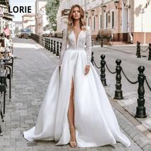 Long Sleeve Soft Satin V-Neck High Slit Long Sleeve A-Line Beach Wedding Dress image 5