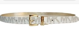 Michael Kors Belt Vanilla/Gold Reversible MK Monogram Gold buckle(Skinny) - $35.99