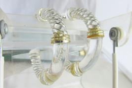 """Crystal Clear Lucite Hoop Earrings Pierced Golden Enamel Accent 2.25"""" Ru... - $13.50"""