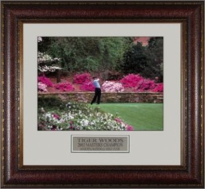 Primary image for Tiger Woods unsigned 2002 Masters Azaleas 16x20 Photo Leather Framed
