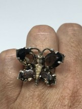 Vintage Deco Genuine Brown Smoky Quartz 925 Sterling Silver Butterfly Ring - $132.82
