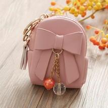 Bag Keychain Women Leather Mini Bowknot Dangle Bead Pendant Coin Pendant... - $8.05
