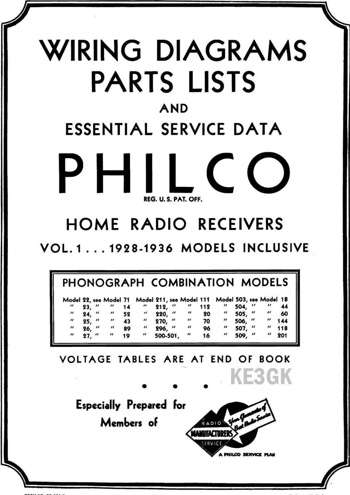 Philco Wiring Diagrams and Parts List 1928 - 1938 * PDF * CDROM