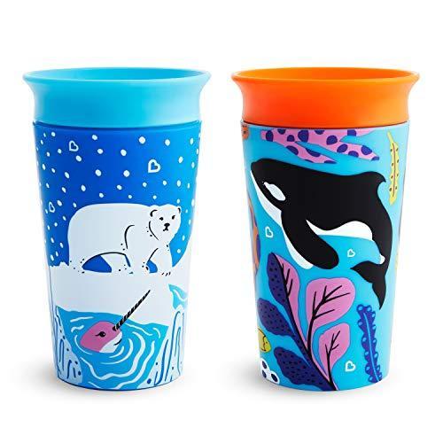 Munchkin Miracle 360 WildLove Sippy Cup, 9 Ounce, 2 Pack, Polar Bear/Orca