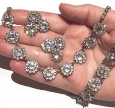 Rare Rivière 3p SET Art Deco Daisy PASTE Sterling necklace bracelet earr... - $1,349.00