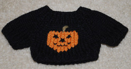 Halloween Doll Sweater Black Orange Jack-o-Lantern Fits Beanie Babies Kn... - $14.80