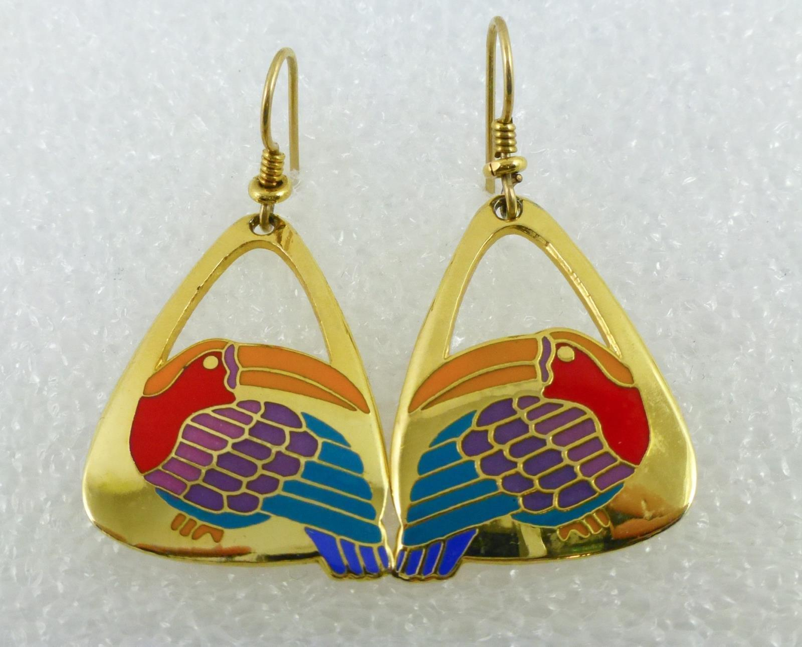 "Primary image for LAUREL BURCH ""TOUCAN"" BIRD Earrings - Yellow Red Purple Green Blue Enamel"