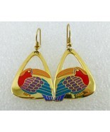 "LAUREL BURCH ""TOUCAN"" BIRD Earrings - Yellow Red Purple Green Blue Enamel - £20.24 GBP"