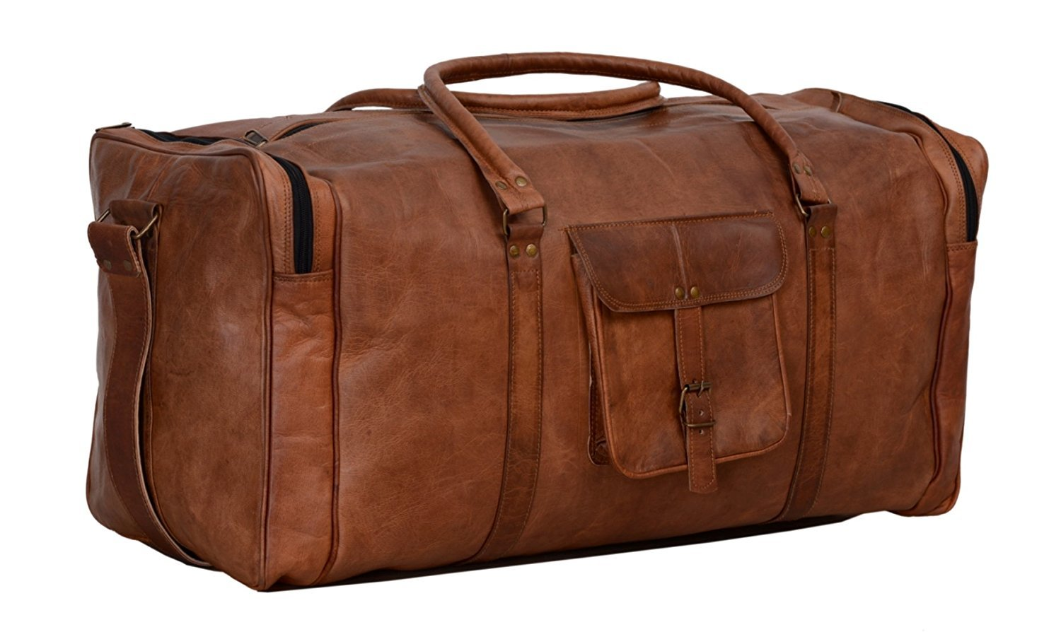 30 Inch Large Leather Duffel Travel Duffle Gym Sports Overnight Weekender Bag