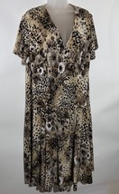 Dressbarn Leopard Print Dress Size 14  Stretch Cross Front Short Sleeves... - $39.59