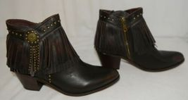 Lucky And Blessed SH 11 Dark Brown Leather Boots Fringe Metal Studs Size 10 image 3