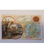 Arbuckle's Coffee Michigan State Territory Map VTG Trade Card #63 Copper... - $16.36