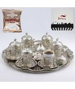 Turkish Greek Arabic Coffee Serving Cup Saucer Gift Set (SILVER) - $55.00