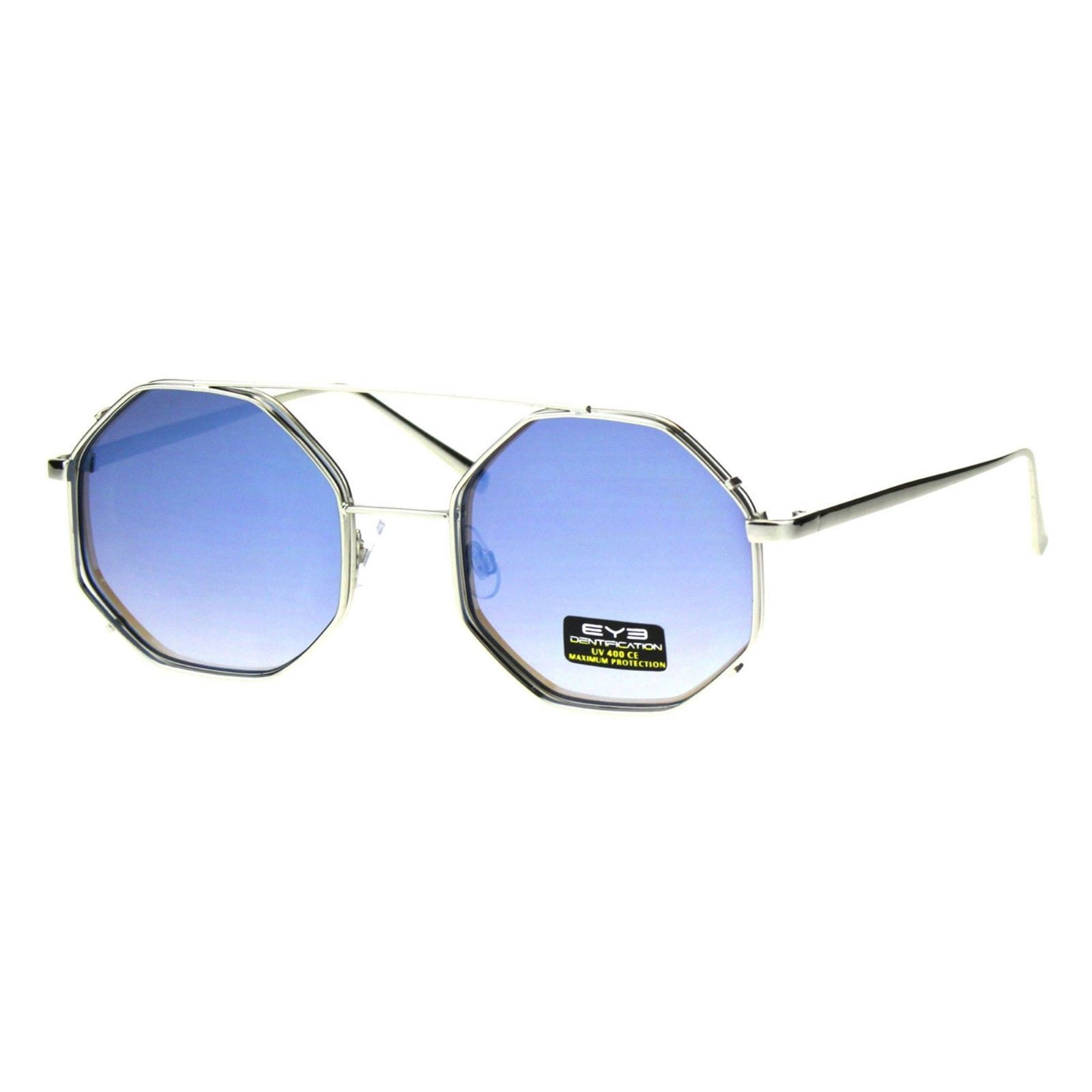 Octagon Shape Sunglasses Womens Double Metal Frame Mirror Lens UV 400