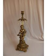 Vintage Metal Antique Brass Finish Cherub Candlestick Austrian Crystals ... - $113.85