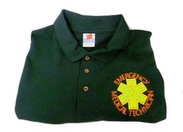 EMT Polo Shirt Emergency Medical Technician 2XL Star of Life Hunter Gree... - $26.43