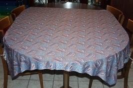Vintage Fabric Nylon or Polyester Tan Blue Paisley Large Piece 54 x 69 - $6.89