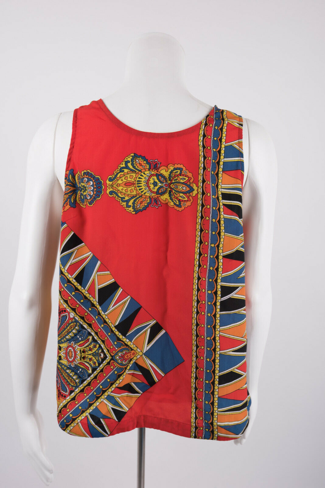 Primary image for Lovers and Friends Womens Small Tank Top Blouse Shirt Paisley Orange Blue Geo