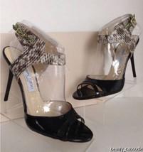 "NEW JIMMY CHOO ""Marcia"" Black Patent Leather Snakeskin Sandal (Size 39.5... - $419.95"