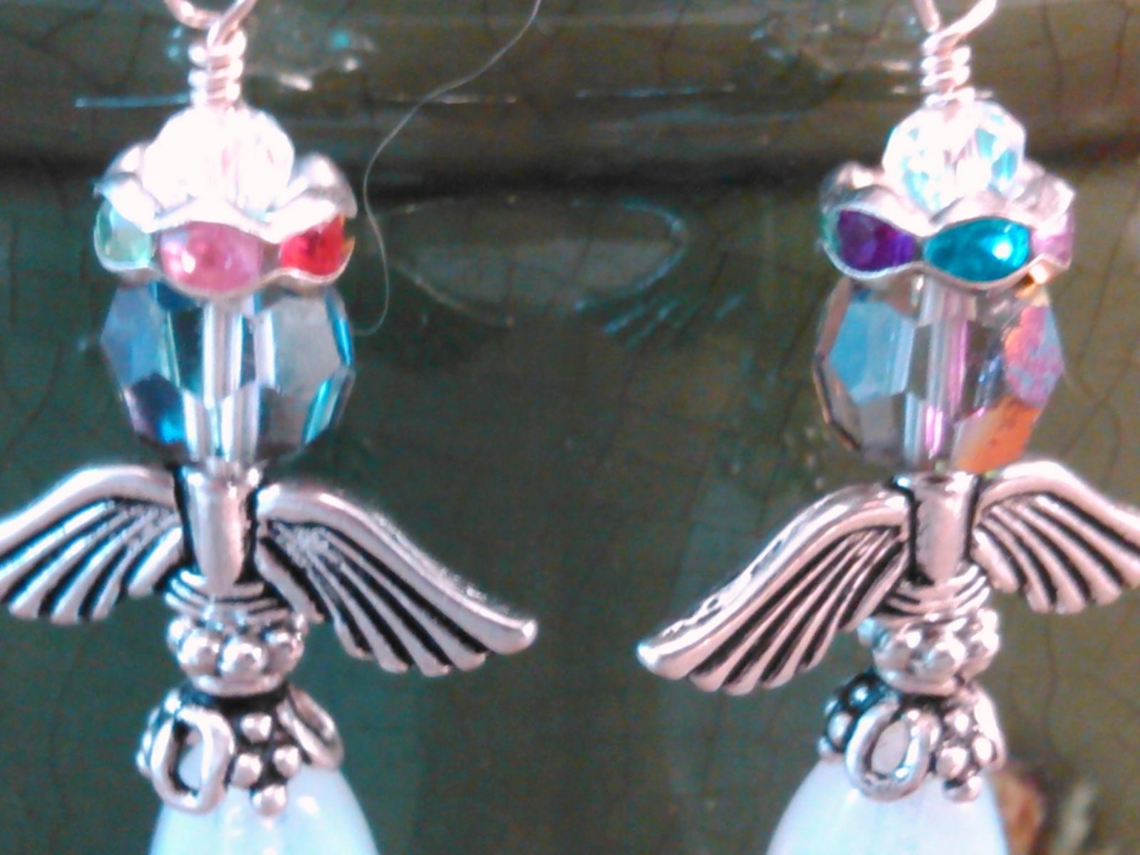 Wire Wrap Angel Earrings w/ Opalescent Glass Beads / Sterling Ear Wires