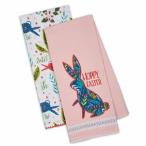 Hoppy Easter Dish Towel Set of 2 New Bunny Rabbits Kitchen 100% Cotton F... - $19.79