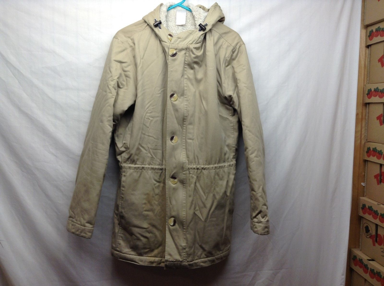 American Apparel Warm Hooded Beige Coat Sz M