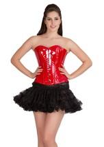 Red PVC Leather Gothic Steampunk Basque Black Tutu Skirt Overbust Corset Dress - $82.49