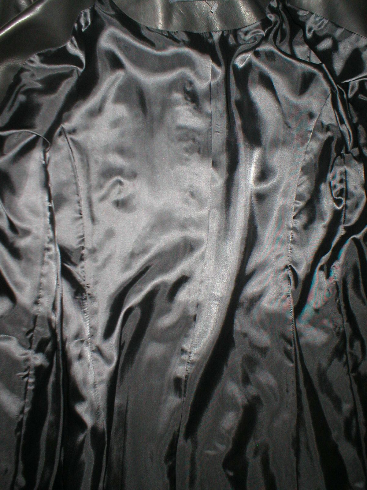 New Womens S Soft Karl Lagerfeld Paris Leather Jacket Black Silver Designer Lamb image 10