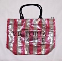 Victoria's Secret Sequin Striped Tote Beach Bag Vacation Purse New Shopper Pink - $37.19