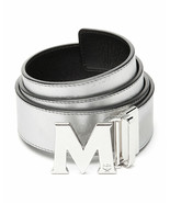 NWT MCM Claus Visetos Silver Metallic Leather Reversible Belt New  $295 - $195.00