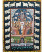 Krishna with gopies large hand painted wall painting pichwai art traditi... - $558.09