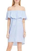 Vince Camuto - Ruffle Off Shoulder Yarn-Dye Stripe Dress (Stormy Blue) - $21.00