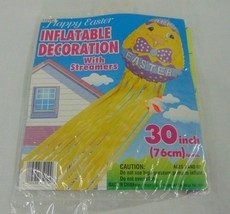"New Vintage 30"" Happy Easter Inflatable with Streamers Decoration Purple... - $8.91"