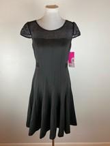 Betsey Johnson Fit Flare Dress 10 M Black Mesh Short Sleeve Expose Zipper - $69.29