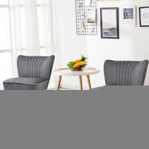 Set of 2 Armless Upholstered Leisure Accent Chair-Gray - Color: Gray - $337.42