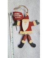 Santa Claus Wooden Moveable Merry Christmas To All tree ornament home de... - $12.07