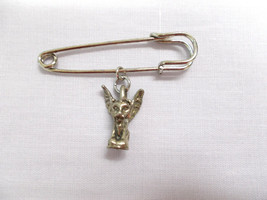 "LARGE 2"" SAFETY PIN & CLASSIC WINGED PERCHED GARGOYLE PROTECTOR MYTH BRO... - $5.99"